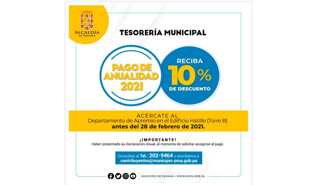 Pago de anualidad 2021 Municipio de Panamá